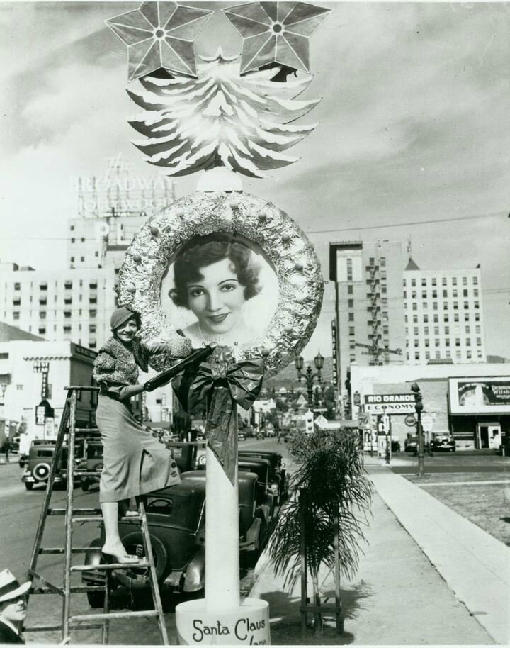 1932 Claudette Colbert By Her Christmas Wreath in Hollywood