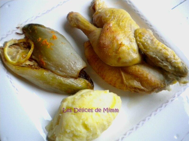 Coquelet au lait et au citron, endives à l'orange et purée de pommes de terre 4