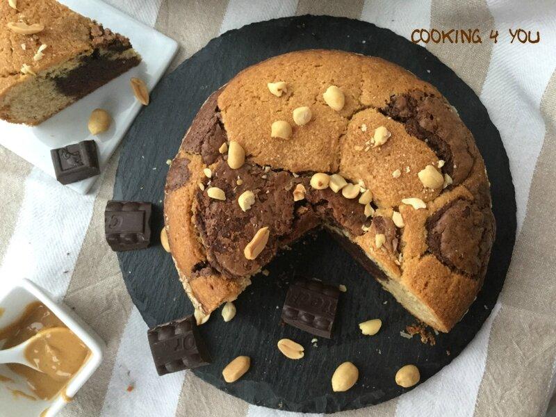 gâteau marbré choco cacahuéte 035