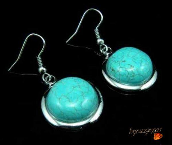 Boucles d'Oreilles Rondes Turquoises Toya Métal argenté
