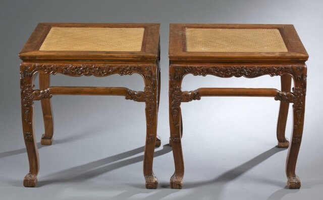 Important Pair of Huanghuali Cabriole Leg Stools, fangdeng, 17th-18th century