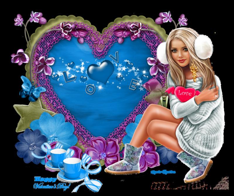 coeur mauve et bleu