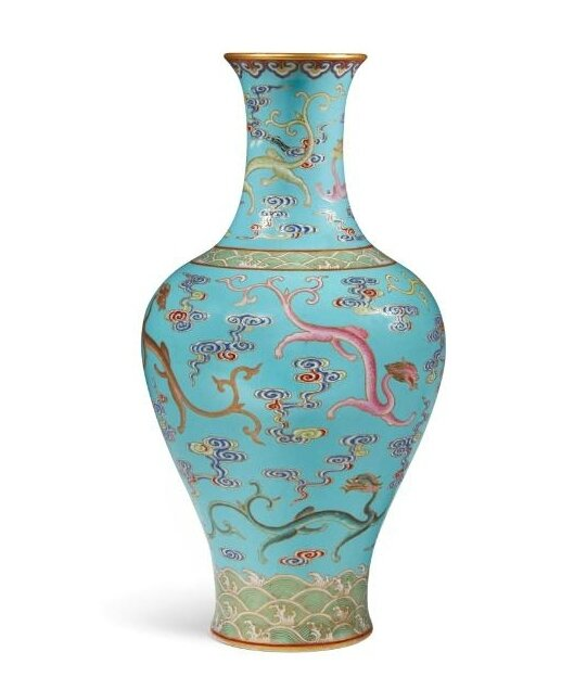 A rare turquoise-ground famille-rose 'Nine Dragon' cloisonné-imitation vase, seal mark and period of Qianlong