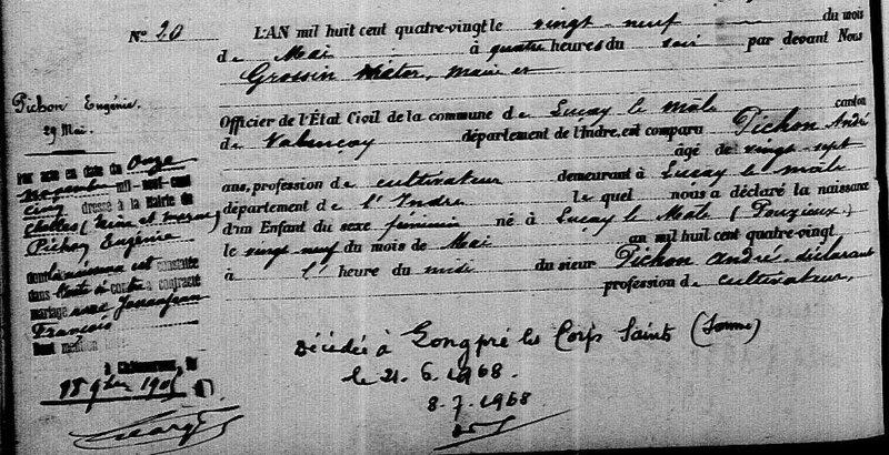 1880 N Eugénie Pichon à Luçay le Mâle