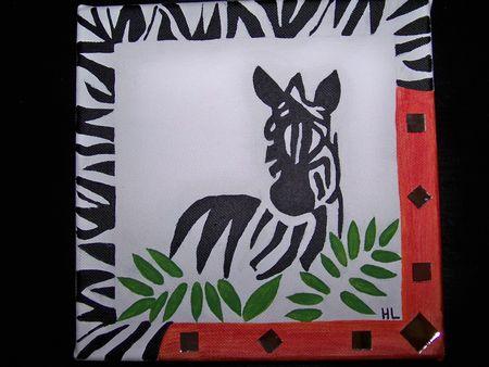 Tableau Africain Zèbre La Fabrique Créative Dhélène