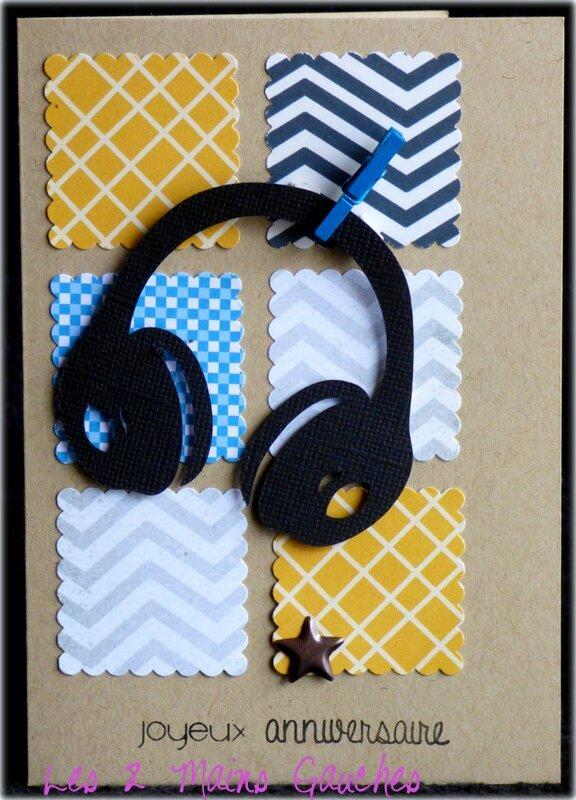 carte d 39 anniversaire ado avec casque audio dans un esprit g om trique l2mg la boutique. Black Bedroom Furniture Sets. Home Design Ideas