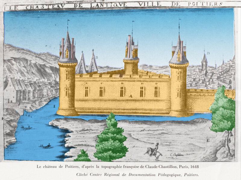 Le château triangulaire de Poitiers d'après la topographie de Claude Chastillon 1648