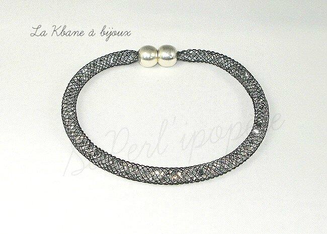 bracelet poussières d'étoiles noir fin 4 mm