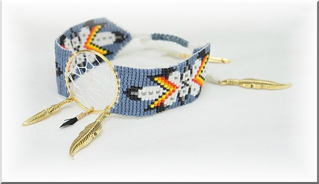 bracelet Loom attrape reve bleu