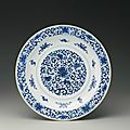 A ming-style blue and white 'lotus' dish, qianlong seal mark and period (1736-1795)