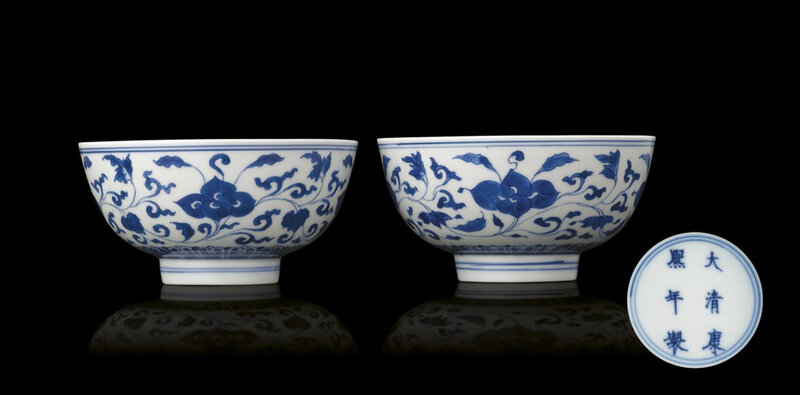 A fine pair of blue and white bowls, Kangxi six-character marks within double-circles and of the period (1662-1722)