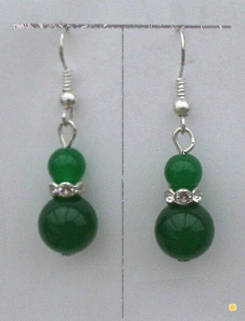 Boucles d'Oreilles Layal Perles Jade Vert Rondelle Strass Crystal Argent Du Tibet
