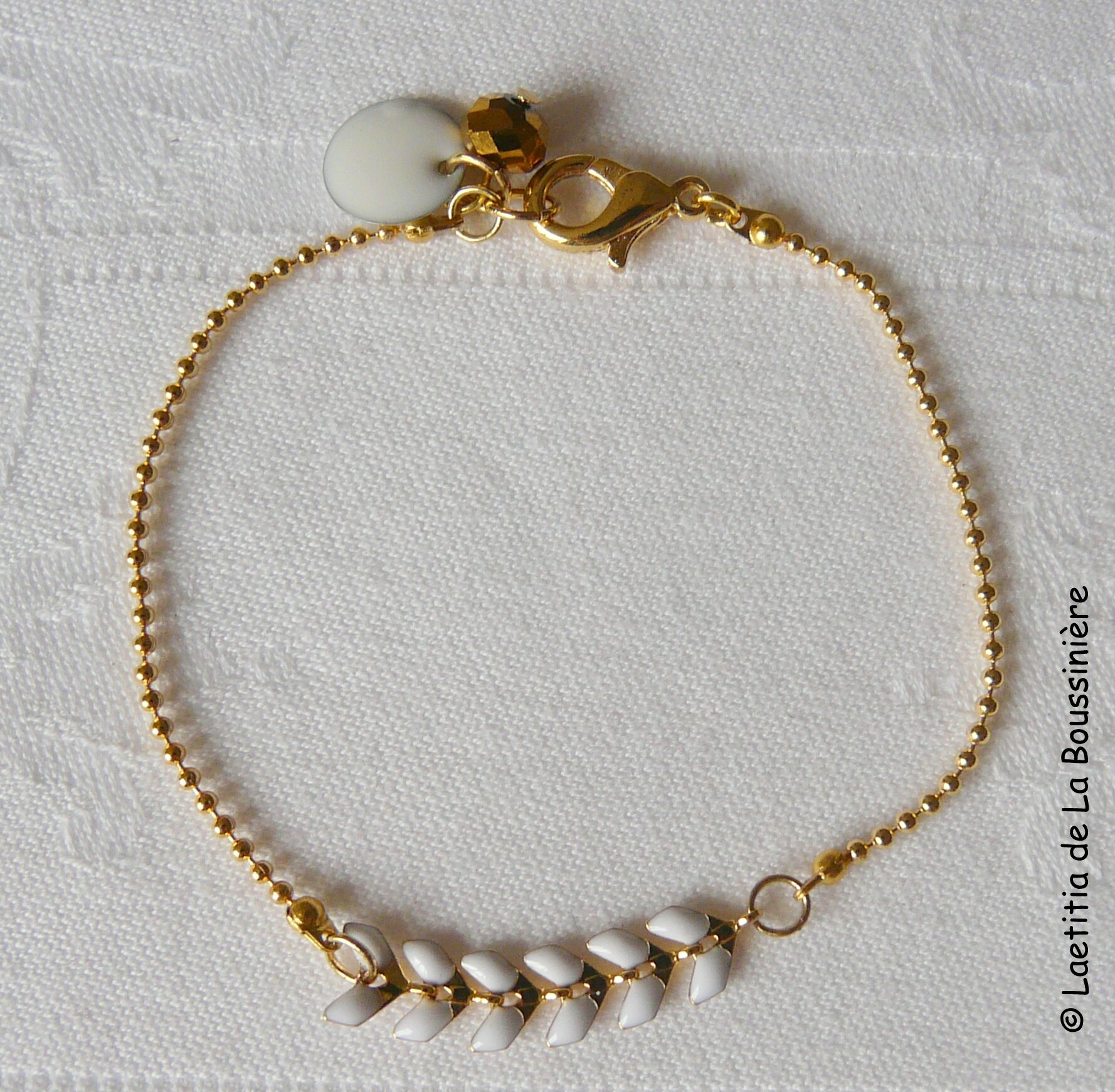 Bracelet César (blanc et or)