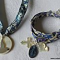 Collier de Confirmation (sur ruban Adeladja bleu) et bracelet de l'Annonciation (sur ruban Meadow parme) - 71 €