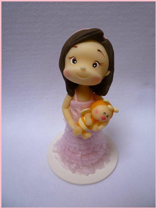 décoration de gâteau, petite fille, doudou, porcelaine froide
