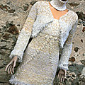Robe tricot fait main mode by odismais , ensemble blanc et or