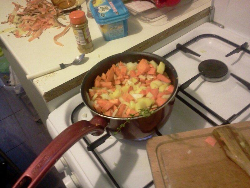 légumes de la pataterre en cuisson