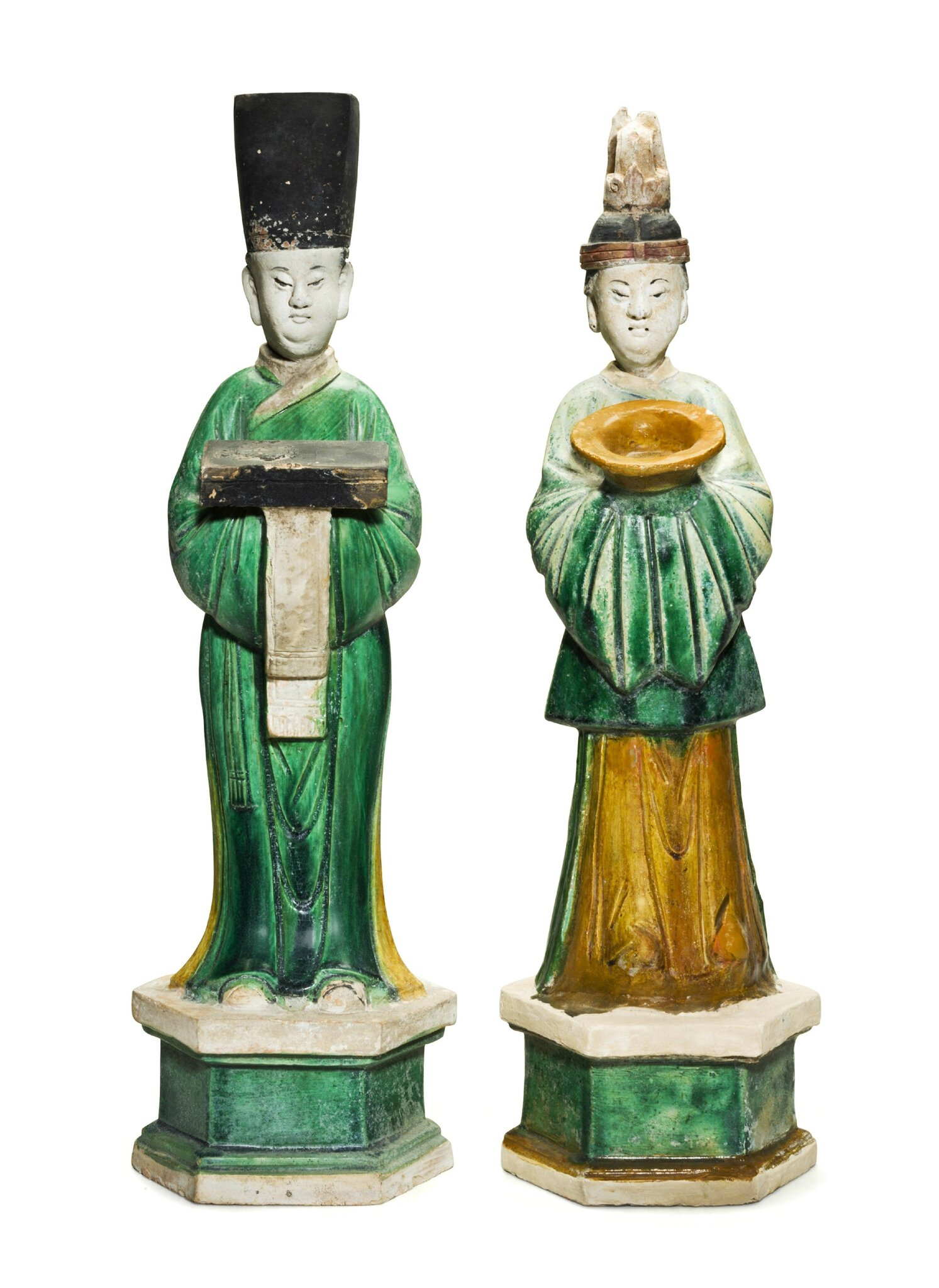 Two sancai-glazed standing figures, Ming Dynasty (1368-1644)