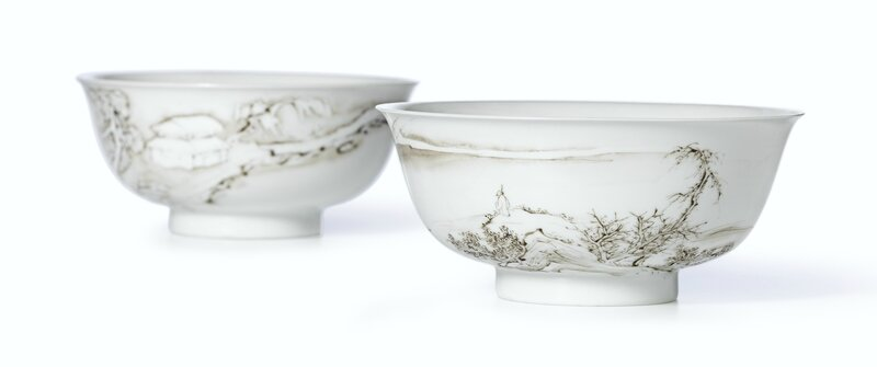 A fine and rare pair of grisaille-decorated 'landscape' bowls, marks and period of Yongzheng 1723-1735)