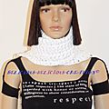 scarf long crochette white a franges d
