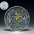 A fine yellow and blue 'dragon' dish, kangxi six-character mark in underglaze blue within a double circle and of the period (166