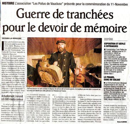 article Vaucluse matin du novembre 2011001