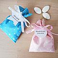 Ballotin à dragées, tissu canard ou rose imprimé étoiles blanche ruban blanc ou rose ,étiquette personnalisée mariage et baptême