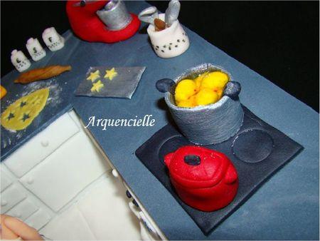 Gâteau cuisine, pâte à sucre, détail plan travail