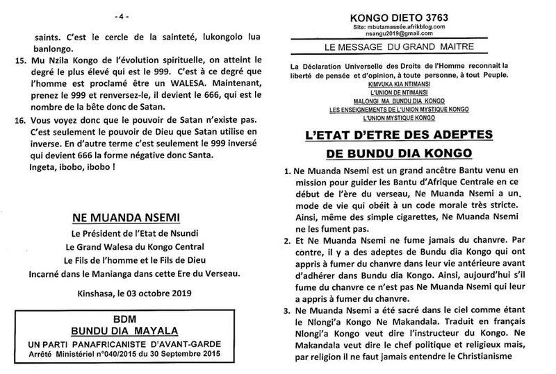 L'ETAT D'ETRE DES ADEPTES DE BUNDU DIA KONGO a