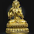A gilt-bronze figure of manjushri, yongle mark and period (1403-1424)