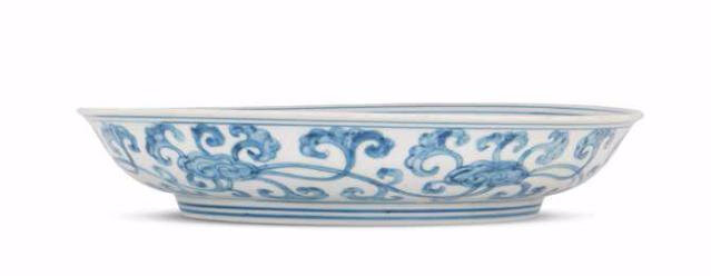 A rare blue and white 'lingzhi' dish, Hongzhi-Zhengde period (1488-1520)
