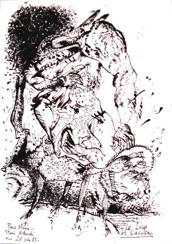 NITKOWSKI Le loup et l'agneau 1985 29,7 x 21