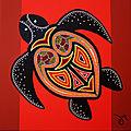Tortue rouge revisitée aborigène