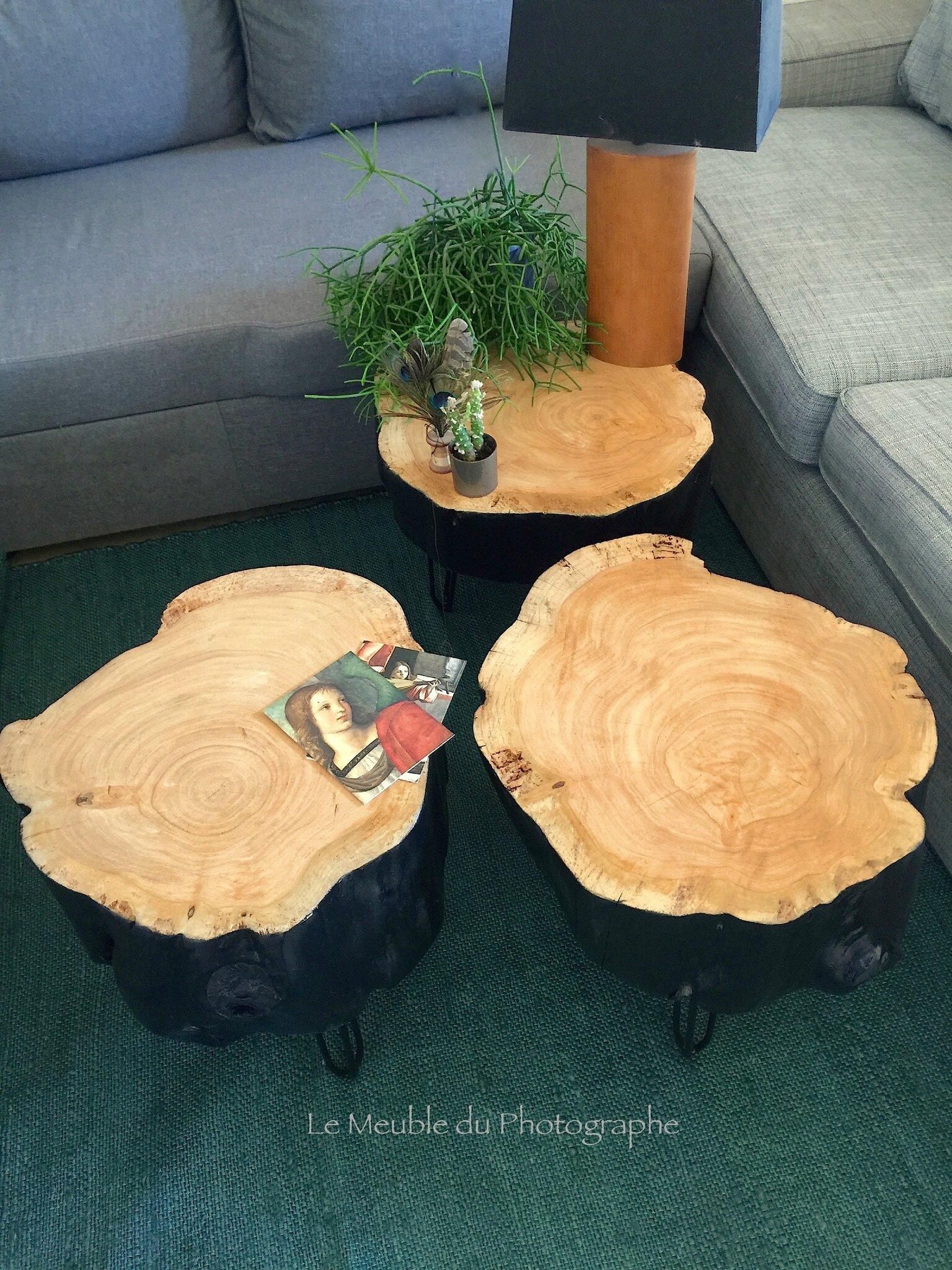 table basse rondin noir lmdp