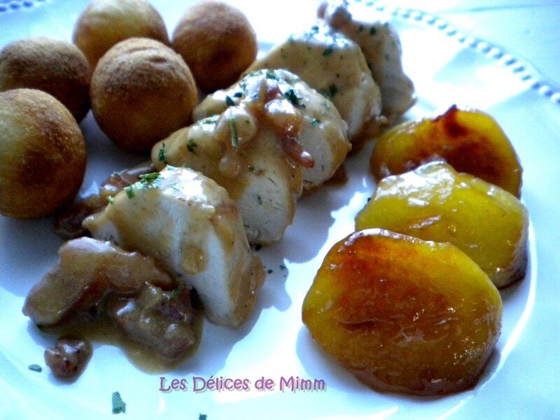 Filets de poulet au cidre, lardons et pommes caramélisées 3