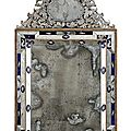 A fine venetian partly cut, etched and blued glass mirror, 19th ct