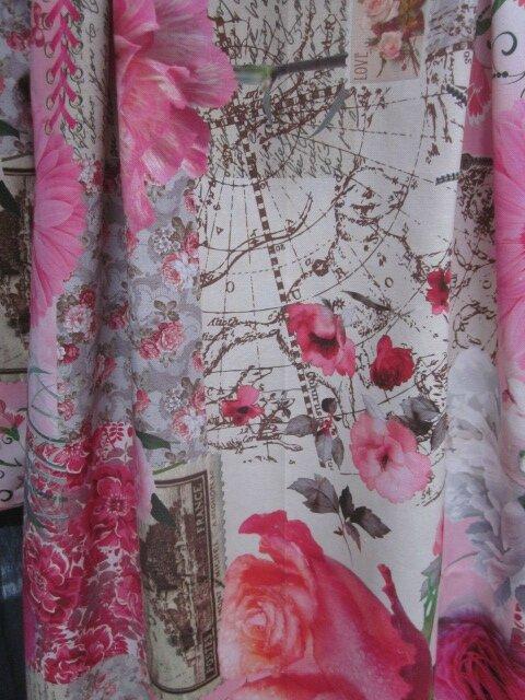 Manteau AGLAE en toile de coton mélangé beige imprimé de fleurs rose - Noeud de lin gris perle (7)
