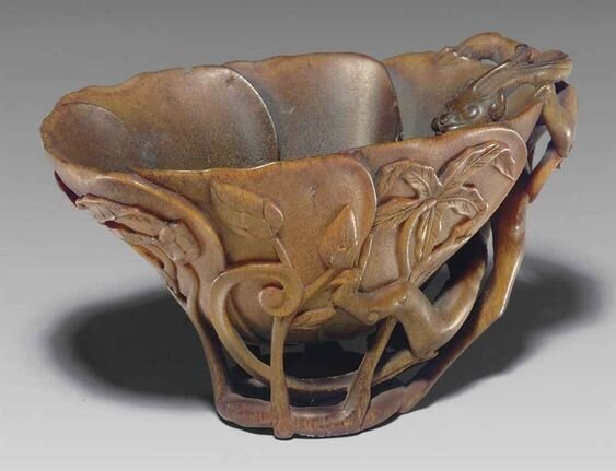 A_rhinoceros_horn_hibiscus_form_cup__17th_18th_century
