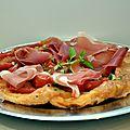 Tarte tatin de tomates au jambon cru et basilic