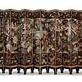A twelve-panel coromandel lacquer screen. kangxi period, inscribed with the cyclical date geng chen, corresponding to 1700