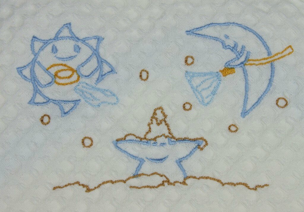 Cape de Bain NAD - Lune étoile Soleil bleu détail