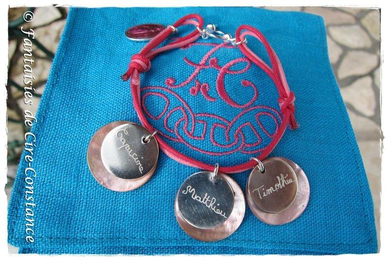 Bracelet coton ciré argent massif plat-1
