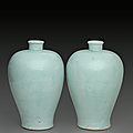 A pair of qingbai vases, meiping, Yuan dynasty (1279-1368)