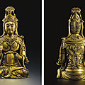 A very rare and important gilt-bronze figure of a seated bodhisattva, five dynasties-liao dynasty, 10th-11th century
