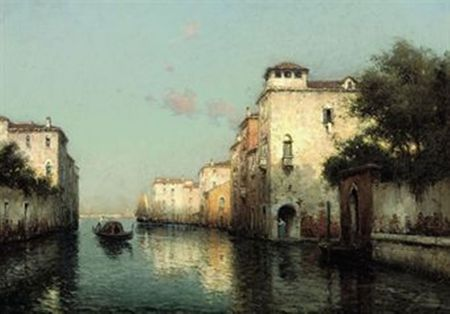 antoine_bouvard_a_gondolier_on_a_venetian_backwater_the_campanile_in_t_d5365588h