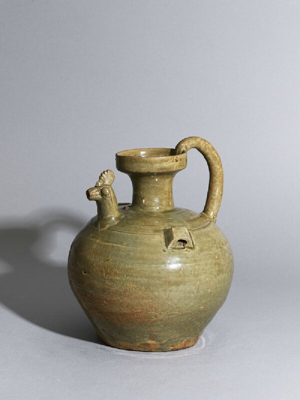 Greenware ewer with chicken head spout, Shaoxing kiln-sites, 4th century - 1st half of the 5th century AD, Six Dynasties Period (AD 221 - 589)