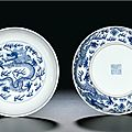 A fine pair of blue and white 'dragon' saucer dishes, seal marks and period of daoguang (1821-1850)