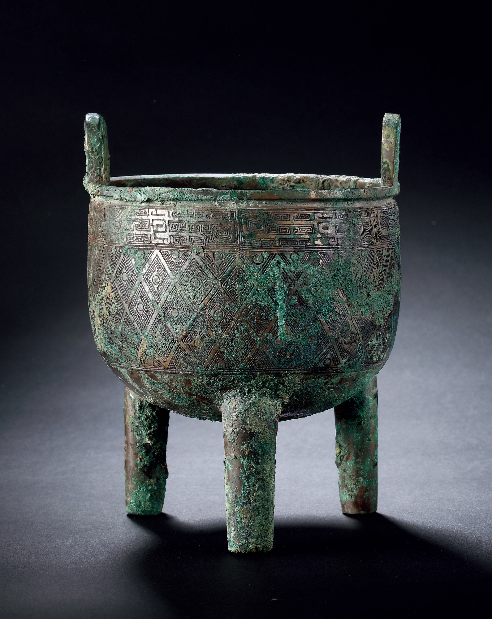 A Bronze Tripod Vessel, Ding, Late Shang Dynasty, 1600-1046 B
