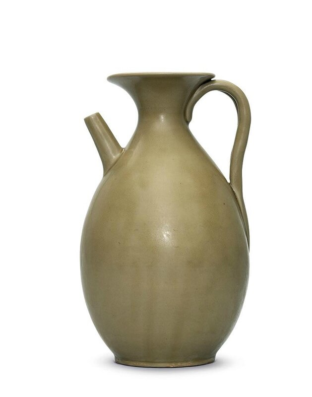 A rare Yue celadon ewer, late Tang dynasty, 9th-10th century
