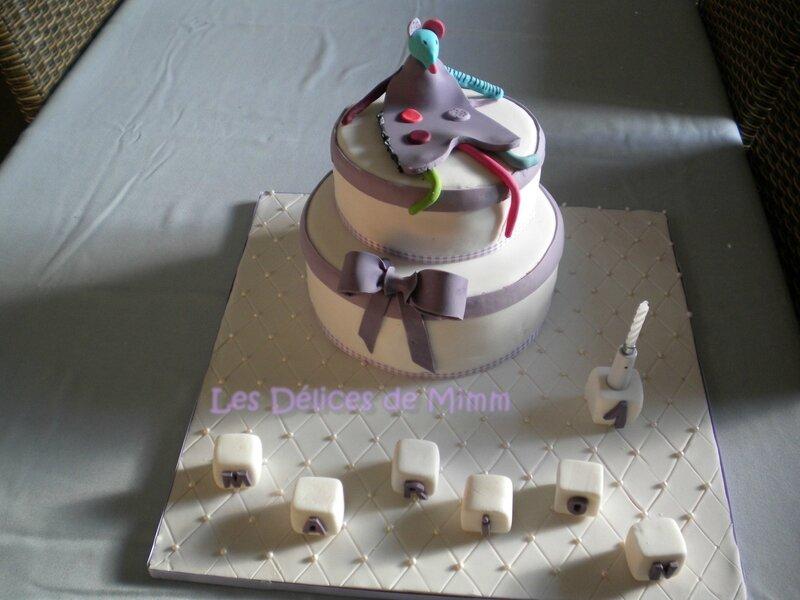 Un gâteau Zaza (les Jolis pas beaux) pour Marion (pâte à sucre)